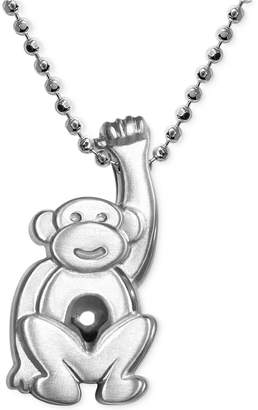 Alex Woo Little Monkey Zodiac Pendant Necklace in Sterling Silver