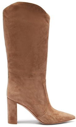 Gianvito Rossi Slouchy 85 Knee High Suede Boots - Womens - Light Tan
