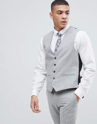 Next Skinny Fit Suit Waistcoat In Grey Stripe