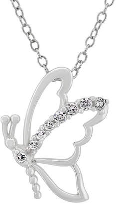 FINE JEWELRY Diamonart Womens 1/4 CT. T.W. Lab Created White Cubic Zirconia Sterling Silver Butterfly Pendant Necklace