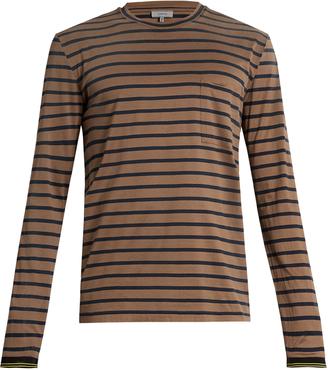Patch-pocket striped cotton T-shirt