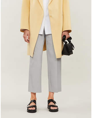 Theory Cropped high-rise stretch-cotton trousers