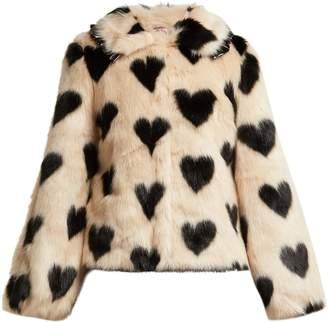 Cullen SHRIMPS heart-print faux-fur jacket