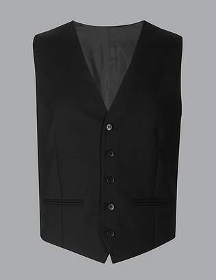Marks and Spencer Black Tailored Fit Wool Waistcoat