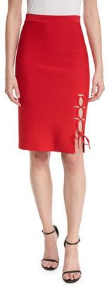 Alexander Wang Laced-Slit Pencil Skirt, Vermillion $650 thestylecure.com