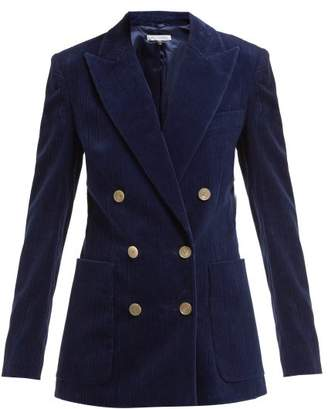 Bella Freud Bianca Double Breasted Cotton Corduroy Blazer - Womens - Navy