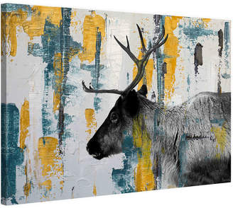 Marmont Hill Teal Yellow Reindeer Painting Print On Wrapped Canvas