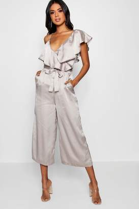 boohoo Asymmetric Neckline Satin Wrap Culotte Jumpsuit
