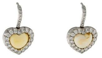 Christian Dior 18K Opal & Diamond Heart Earrings
