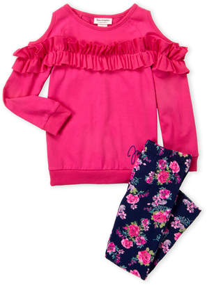 Juicy Couture Girls 4-6x) Two-Piece Cold Shoulder Top & Floral Leggings Set