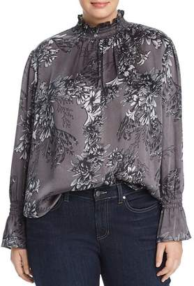 Vince Camuto Plus Smocked Floral-Print Top