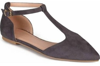 Brinley Co. Women's T-strap Pointed Toe Faux Suede Flats