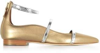 Malone Souliers By Roy Luwolt Robyn Flat Metallic Nappa Leather Ballerinas