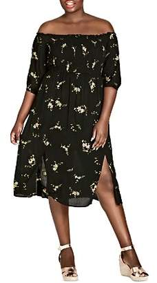 City Chic Plus Aerial Floral Off-the-Shoulder Midi Dress
