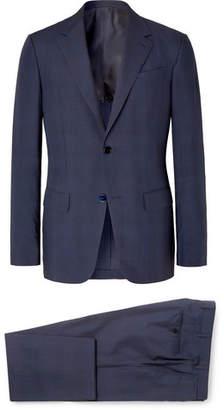 Ermenegildo Zegna Navy Slim-Fit Checked Wool and Silk-Blend Suit - Men - Navy