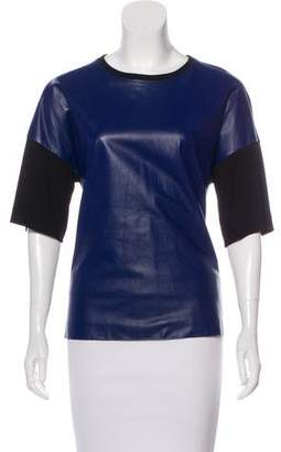 Vionnet Leather-Accented Short Sleeve Top