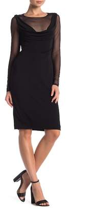Vera Wang Illusion Cowl Neck Long Sleeve Dress