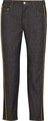 Victoria Beckham Victoria, Satin-trimmed Cropped Mid-rise Straight-leg Jeans - Dark denim