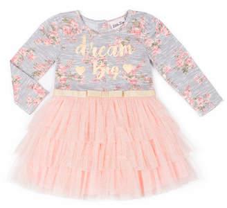 Little Lass Long Sleeve Big Dreams Tutu Dress - Baby Girls