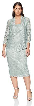 Alex Evenings Women's Plus Size Lace Jacket Dress