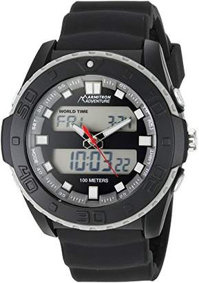 Armitron Adventure Men's AD/1009BLK Analog-Digital Chronograph Multi-Function Silicone Strap Sport Watch