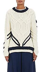 Orley Women's Contrast Braid Cable-Knit Sweater - Ivory