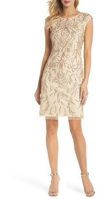Pisarro Nights Beaded & Embroidered Cocktail Dress