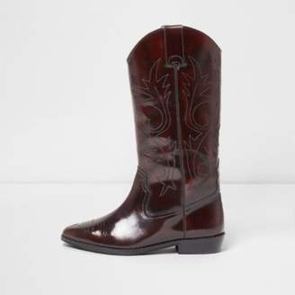 River Island Dark red patent knee high western boots