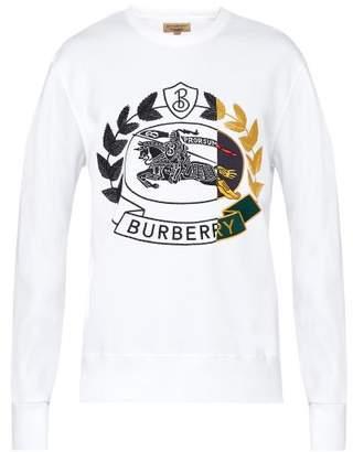 Burberry Crest Embroidered Cotton Blend Sweatshirt - Mens - White