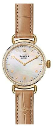 Shinola Canfield Diamond Alligator Strap Watch, 32mm