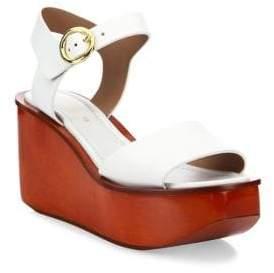 Michael Kors Collection Bridgette Leather Ankle-Strap Wedge Platform Sandals