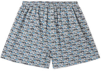 Sunspel Printed Cotton Boxer Shorts - Men - Blue