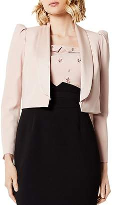 Karen Millen Puff-Sleeve Cropped Tuxedo Jacket