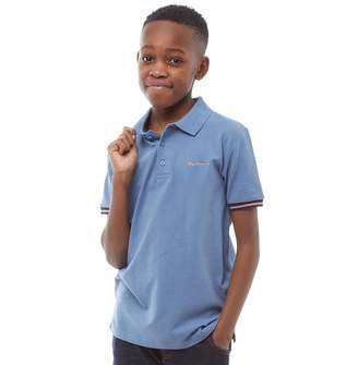 Ben Sherman Junior Boys Collar Print Polo Moonlight