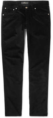 Brioni Slim-Fit Stretch-Cotton Corduroy Trousers - Men - Black