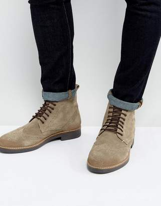 Frank Wright Brogue Boots Taupe Suede