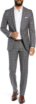 BOSS Novan/Ben Trim Fit Windowpane Wool Suit