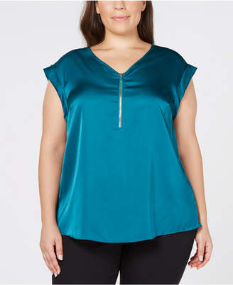 JM Collection Plus Size Zip-Neck Top, Created for Macy's