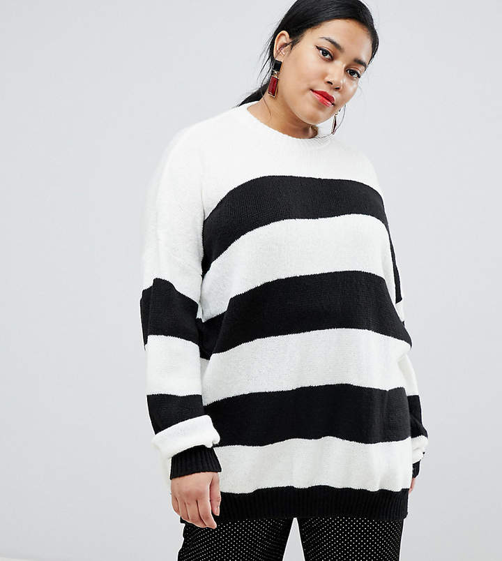 Curve oversized knitted jumper in contrast stripe