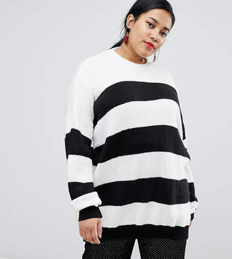 Glamorous Curve oversized knitted sweater in contrast stripe