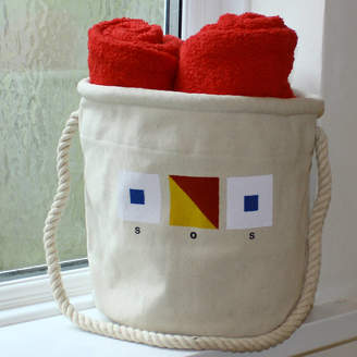 The Original Canvas Bucket Bag Company Pair Of Seaside Home Storage Bags /Sale Price