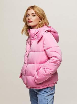 Miss Selfridge Pink oversized hooded puffer jacket