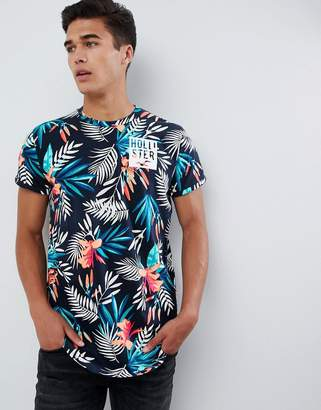 Hollister color change all over floral print t-shirt slim fit in navy