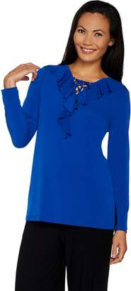 Susan Graver Liquid Knit Tunic with Ruffle and Lacing