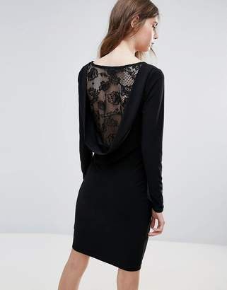 Ichi Lace Insert Back Bodycon Dress
