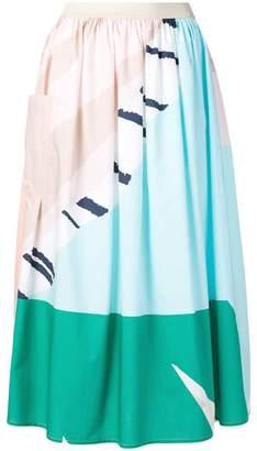 Roberto Collina printed gathered midi skirt