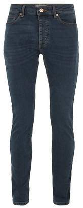 Topman Mens Grey Mid Wash Blue Stretch Skinny Jeans
