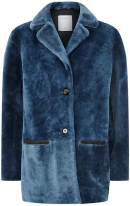 Sandro Cropped Shearling Coat