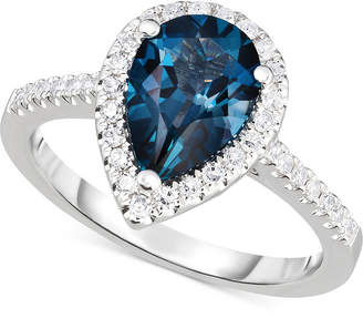 Macy's London Blue Topaz (2-1/4 ct. t.w.) & Diamond (1/3 ct. t.w.) Ring in 14k White Gold