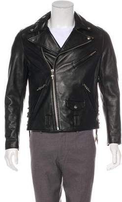 Chrome Hearts Sterling-Accented Leather Moto Jacket